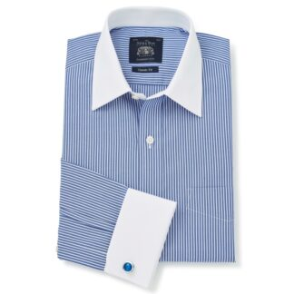 Royal Blue White Stripe Classic Fit Shirt With White Collar & Cuffs - Double Cuff by Savile Row Company main