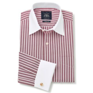Shirt in Dark Red and White Stripe with Double Cuff by Savile Row Company main